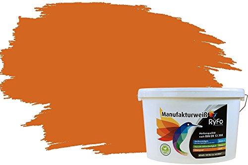 RyFo Colors Bunte Wandfarbe Manufakturweiß Aprikose 10l - weitere Orange Farbtöne und Größen erhältlich, Deckkraft Klasse 1, Nassabrieb Klasse 1
