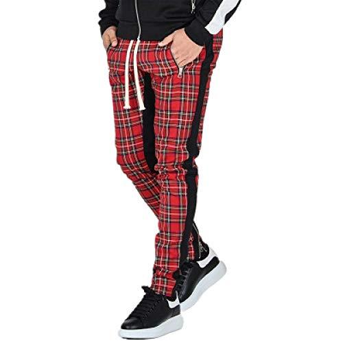 nobranded Pantalones de Hombre Pantalones de chándal Casuales con Estampado de Cuadros Escoceses Pantalones Delgados con cordón adecuados para Deportes al Aire Libre