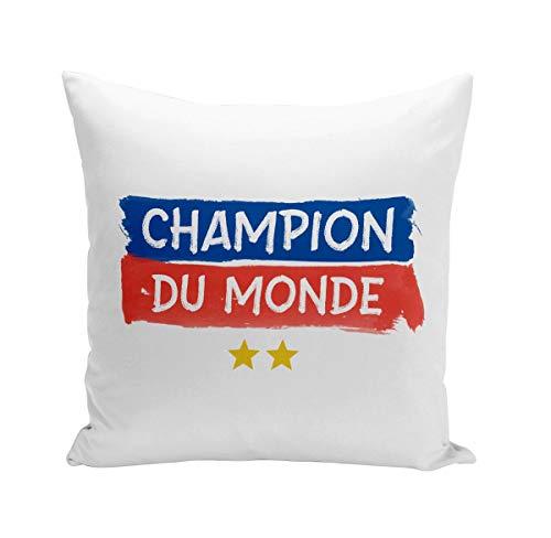 Fabulous Coussin 40x40 cm Champion du Monde Foot France Team 2 Etoiles