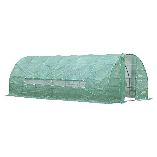 Outsunny Invernadero de Jardines y Huertos con Ventanas para Cultivos Plantas y Verduras 6x3x2m Cubierta de PE 140g/㎡Material de Acero