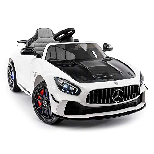 Moderno Kids Mercedes GT 12V Power Children Ride-On Car with R/C Parental Remote + EVA Rubber LED Wheels + Leather Seat + MP4+MP3 Video/Music Player + LED Lights + Rubber Floor Mats (White)