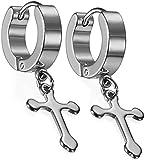 Affaires Christmas Gift Jesus Cross Piercing Stainless Steel Huggie Earring for Men and Women (Silver) Earrings-002