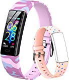 GOGUM Slim Fitness Tracker with Replacement Band for Kids Girls Boys Teens Age 5-16,Heart Rate Monitor,Activity Tracker,Alarm Clock,Pedometer,Sleep Monitor,Step Tracker Counter Watch (Pink-cf)