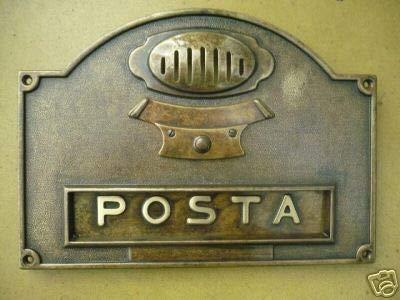 arterameferro Placca Buca Lettere Posta in Ottone Brunito per citofono con pulsantiera