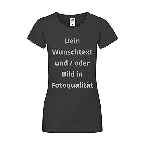 Damen T-Shirt Bedrucken - Text und Bild individuell auf Ihr T-Shirt Drucken Lassen | Personalisiert Farbe Schwarz, Größe M