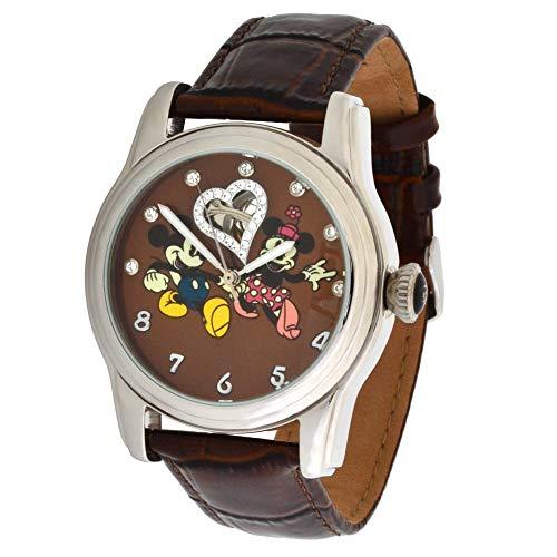 Walt Disney Reloj Automático Acero Inoxidable 3ATM Mickey y Minnie Mouse Swarovski Stones y Correa de Cuero Marrón