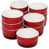 COM-FOUR® 12x ciotole per ragù di pinne - stampi da forno rossi - ciotole per creme brulee - coppetta da dessert con 185 ml ciascuna
