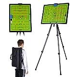 Aminiture Gran suelo de fútbol, tabla de aprendizaje tipo balón de fútbol, tabla táctica con mochila magnética borrable