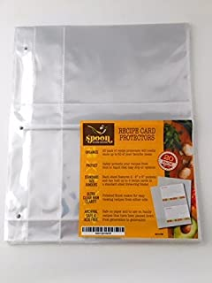 Recipe Card Protectors, Refill Sheets, 20 Pack, Clear, 2 Cards Per Sheet