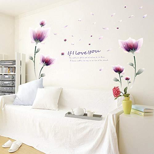 MAMALOOKWall Sticker SK9027 Fantasy Purple Flower Bedroom Living Room TV Background Wall Sticker Decorative Sticker Paper
