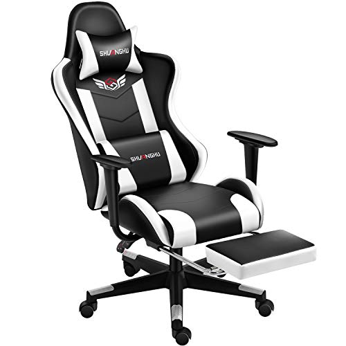 Shuanghu Gaming Chair Office Chair Ergonomic Computer Chair with Reclining Chair with Headrest and Lumbar Support Video Game Chair for Adults Teens Desk Chair(Footrest) (White)