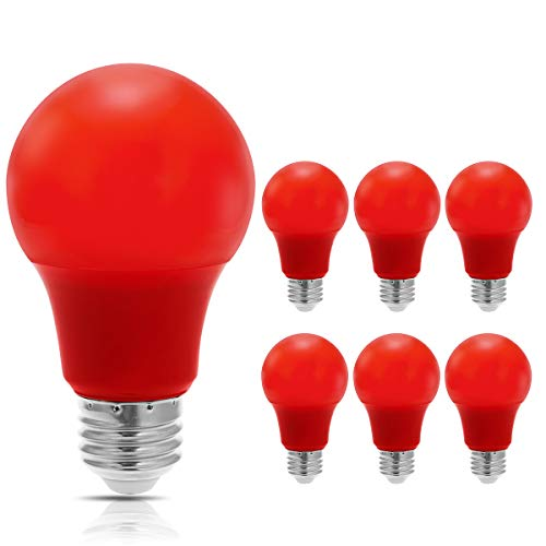 JandCase Red Light Bulb, 5W(40W Equivalent), A19 Christmas LED Light Bulbs with E26 Medium Base, 6 Pack