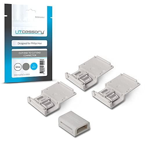 Litcessory Conector de Extremo Cortado a Extremo Cortado para Philips Hue Lightstrip Plus (Paquete de 4, Blanco - MICRO 6-PINES V4)