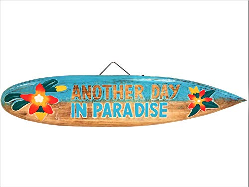 "All Seas Imports 39"" Handcarved and Painted Distressed Style Wood Another Day in Paradise with Flowers Surfboard"