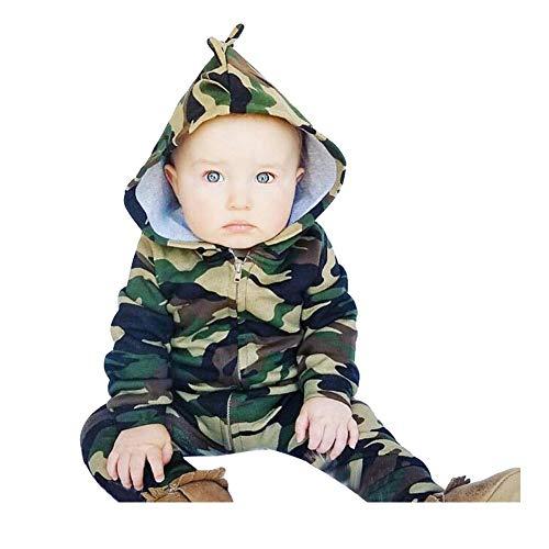DAY8 Vêtement Bébé Garçon Naissance Hiver Pyjamas Bébé Garçon Pas Cher Body Nouveau Né Fille Automne Combinaison Bébé Fille Manche Longue Manteau Cartoon Barboteuse Combipilote (90(12-18 Mois), Vert)