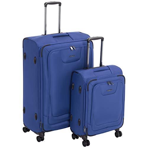 AmazonBasics - Set de dos maletas con ruedas, de calidad superior, expandible, con lados blandos y cierre con candado TSA, (53 cm, 74cm), Azul