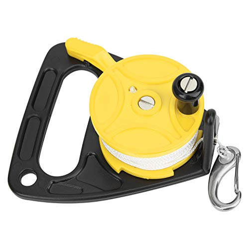 Alomejor Ancla de Kayak de Carrete de Buceo de 150 pies con posición de Tarjeta de Mango combinación de Cuerda de PP para Seguridad Buceo Submarino Snorkel(Amarillo)