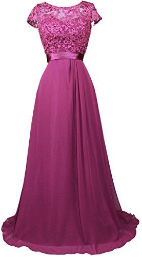 Meier Women's Short Sleeve Embroidery Rhinestone Mother of Bride Evening Dress Eggplant-XXL