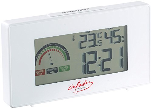 infactory Uhr Thermometer: Digitaler Funkwecker mit Thermometer und Hygrometer (Digitale Funkuhr)