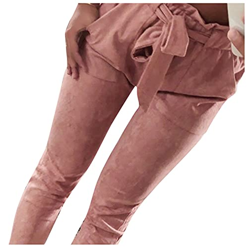 AmyGline Damen Hosen Paperbag Elastische Taillen Hose Casual Lange Hosen Sommerhose Sweatpants Freizeithose (Rosa, S)