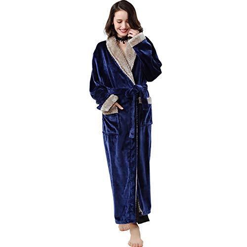 Unisex badjas, ochtendjas flanel verdikking lange hak kleur passende paar Home Service pyjama's (1 stuks)