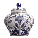 Mopoq Muebles orientales auténticos urnas asiáticos, nuevos frascos de Almacenamiento Azul y Blanco Chino, jarrones Decorativos, arreglos de Flores, salón Moderno Creativo Caramelo Caramelos, Dibujos