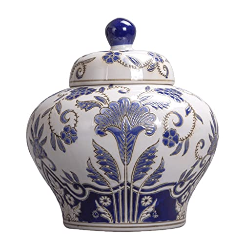 Mopoq Muebles orientales auténticos urnas asiáticos, nuevos frascos de Almacenamiento Azul y...