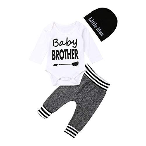 Geagodelia - Conjunto de ropa para recién nacido, 3 piezas, diseño de letra estampada + pantalón + sombrero Blanco Baby Brothers. 3-6 Meses