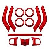 FUFU Interior Recorte Volante y consola Centro de Aire Outlet Outlet Guarder Cubierta de mango Ajuste para Jeep Wrangler JK JKU 2011-2017 rojo