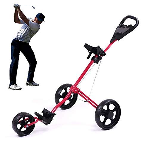FXQIN 3-Rad Golftrolley klappbar, Golf Push Trolley, Leichter Golfwagen mit verstellbarem Schiebegriff, Fußbremse, Anzeigetafel und T-Stückhalterung, einfach zu öffnen/schließen