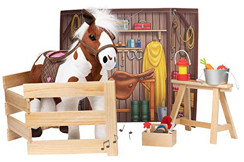 Adora Amazing World Plush Horse with 1 Sound Effect, Saddle, Harness & Wooden Stable Play Set – 15 Piece Set for 18 Dolls [Amazon Exclusive], 29136