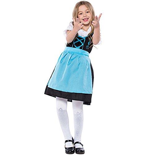 LOLANTA Kinder Blaues Bier Mädchen Dirndl Oktoberfest Kostüm Germen Bayerisches Mädchen Kleid (122/134)