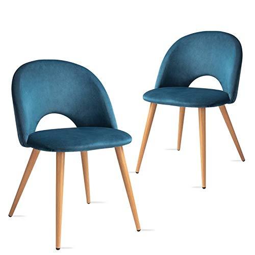 Mc Haus Pack 2 sedie Luna nordico design sala pranzo , Blu oceano 49x46x76cm