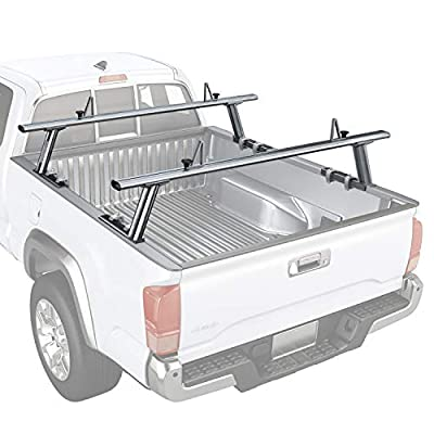 AA-Racks Model APX2502-SLV Low-Profile Utility Aluminum Pick-Up Truck Ladder Rack with Load Stops