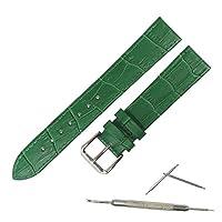 腕時計 ベルト 牛革 ワニ革型押し 薄め 防水加工 バネ棒・交換工具付き 時計バンド (14mm, グリーン)