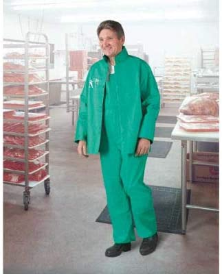 Onguard Sanitex Green Jacket W/Hood Snaps, PVC on Polyester, L