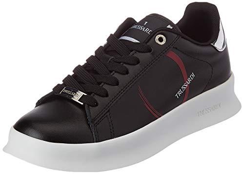 Trussardi Jeans Anemone Action Leather/Logo, Scarpe da Ginnastica Donna, Black/Bouganville/Silver, 42 EU