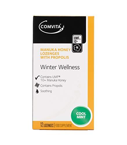 Comvita Winter Wellness Manuka Honey Lozenges with Propolis (Pack of 12 Cool Mint Lozenges)