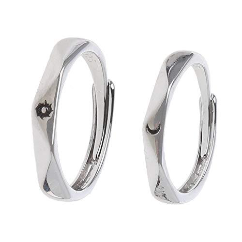 Hergon - Juego de 2 anillos de pareja de sol y luna, anillos de amor de boda (1 #)