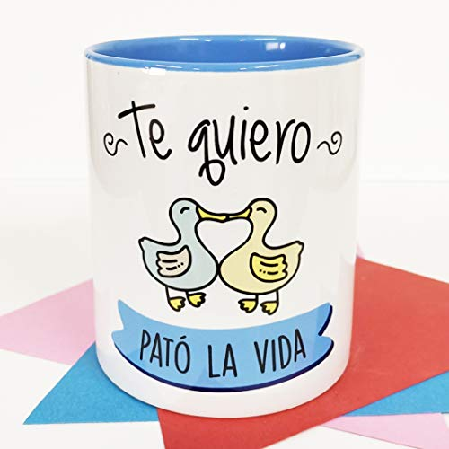 La Mente es Maravillosa - Taza con frase de amor y dibujo gracioso (Te quiero pató la vida) Regalo para San Valentín