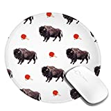 Round Mouse Pad - Buffalo Ping-Pong Non-Slip Rubber Circular Mice Mat - Stitched Edges Mousepad - Suitable for...