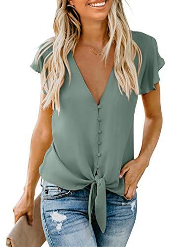 FIYOTE Oberteile Damen Bluse Elegant Hemdbluse Button Down Shirts Lose Casual Langarm Tunika Tops mit Brusttaschen grün M
