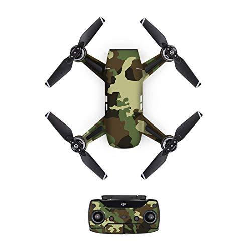 HONG YI-HAT New Camo arning PVC-avtagbar bild-hud-dekal för DJI Spark-Drone kropp + fjärrkontroll + 3 batteri skyddshölje [DJS0028] drönare reservdelar
