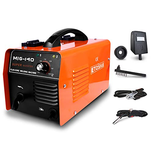 ETOSHA MIG 140 Welder 140Amp Flux Core Wire Gasless Automatic Feed Welder Portable Flux Core Wire No Gas MIG 140 Welder Machine with Welding Gun, Grounding Clamp, Input Power Adapter Cable and Brush