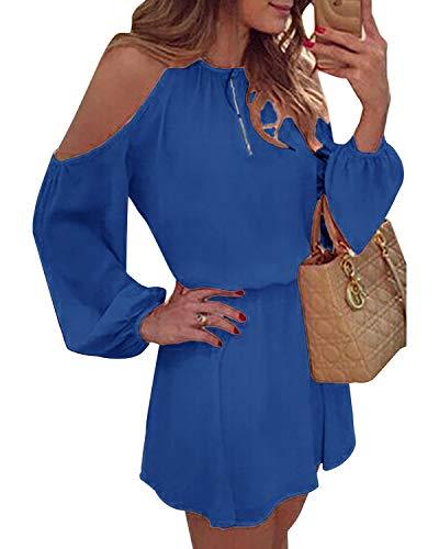 YOINS Sommerkleid Damen Kurz Schulterfrei Kleid Elegante Kleider für Damen Strandmode Langarm Neckholder A Linie Blau XXL