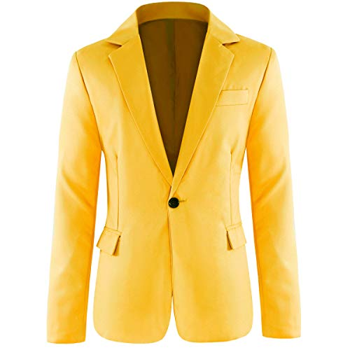 Men's Slim Fit Casual 1 Button Notched Lapel Blazer Jacket Yellow
