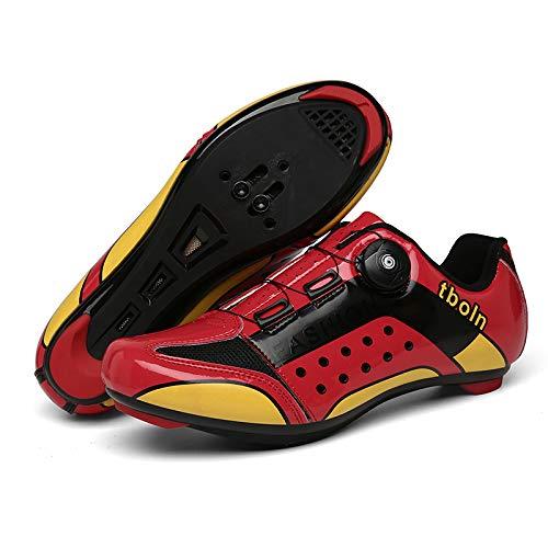 WYUKN Calzado de Ciclismo de Carretera para Hombre SPD Calzado de Ciclismo al Aire Libre Transpirable con Tacos SPD,Red-41=(255mm)