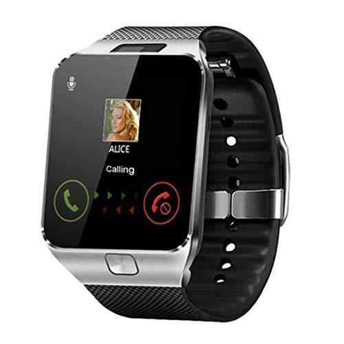 GYY Hombres Mujer Bluetooth Smart Watch DZ09 Teléfono con Cámara SIM TF Tarjeta Android SmartWatch Teléfono Llamada Pulsera Reloj Inteligente Relojes (Color : Silver)