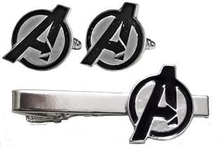 Marvel Comics The Avengers Logo Silvertone TIE Clip & Cufflinks Set