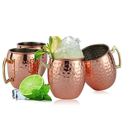 SXUDA Copper Moscow Mule Mugs Set of 4, Creative Hammer Point Copper Cups with Stainless Steel Inner and Copper-plated Outer for Beer and Cocktail